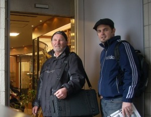 Dad & I entering the first store in Tokyo